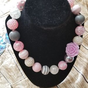 New Bubble Gum Bead Necklace gray pink blend